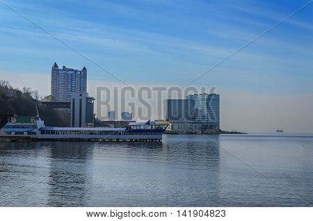 Seascape, a town on the shore of the ocean, a distant Vladivostokeascape, a town on the shore of the ocean