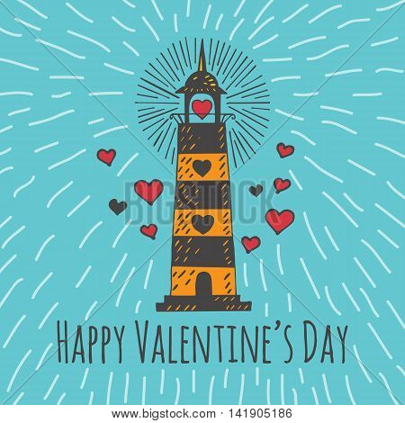 Valentines Day card with illustrated lighthouse. Vector illustrated colorful lighthouse with heart on blue background.