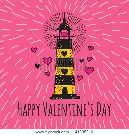 Valentines Day card with illustrated lighthouse. Vector illustrated colorful lighthouse with heart on pink background.
