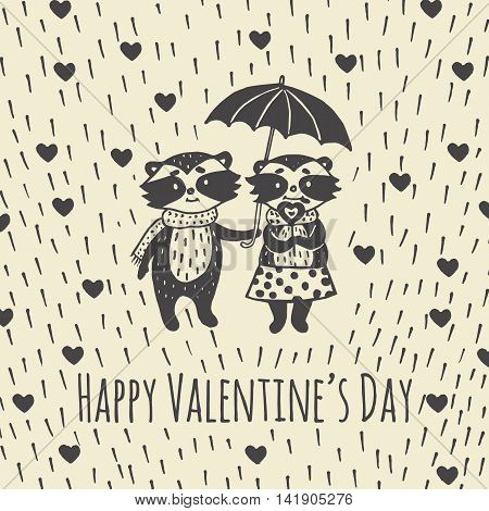 Valentines Day card with illustrated raccoon couple under umbrella. Vector illustrated colorful raccoon couple with umbrella on beige background.