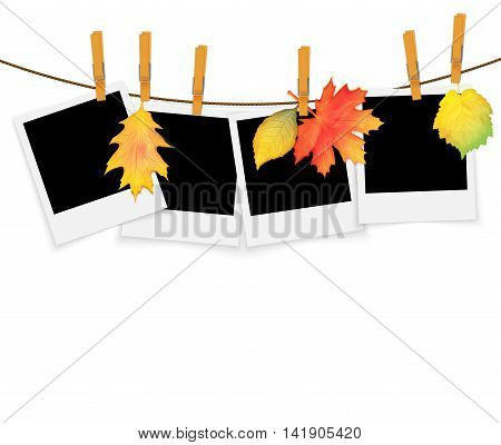 Photo frames on rope with clothespins and autumn leaves vector background
