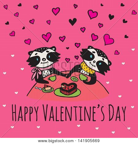 Valentines Day card with illustrated raccoon couple drinking tea. Vector illustrated colorful raccoon couple on pink background.