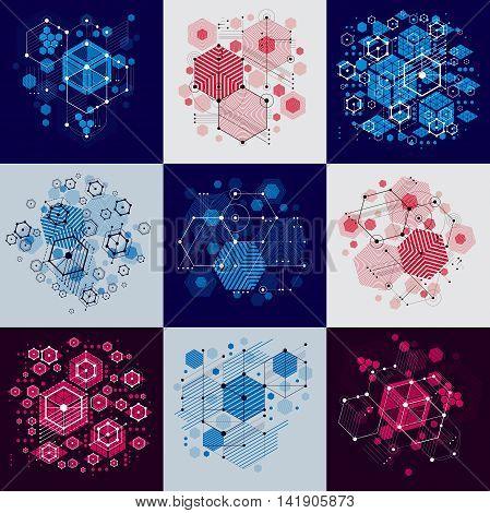 Collection of Bauhaus retro art vector backgrounds made using hexagons and circles.