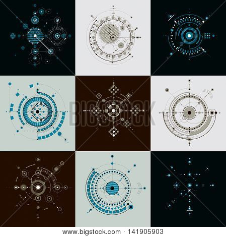 Set of modular Bauhaus vector backdrops created from geometric figures like circles and lines.