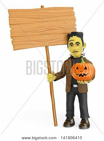 3d halloween people illustration. Funny monster with a blank wooden sign and a pumpkin. Isolated white background.