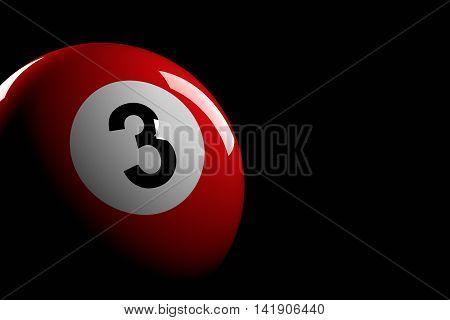 Pool Ball Number 3, 3D Rendering