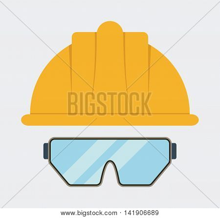 Yellow helmet glasses icon. Industrial Security. Colorfull Vector illustration