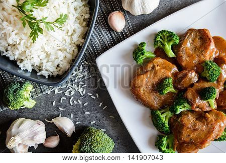 Steamed Pork With Balsamic Vinegar And Roasted Broccoli And Rice