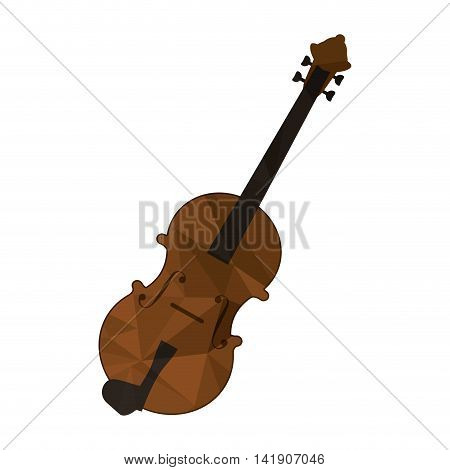 flat design polygon texture violin icon vector illustration