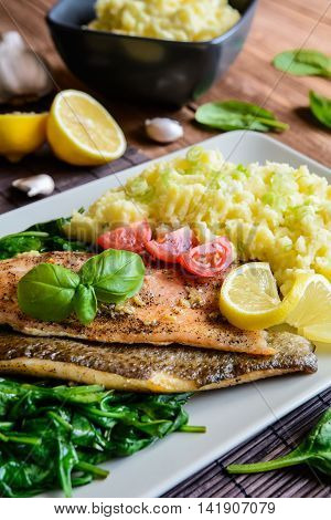 Baked Trout Fillet With Mashed Potatoes And Steamed Spinach