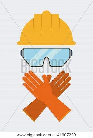 Yellow helmet glasses gloves icon. Industrial Security. Colorfull Vector illustration