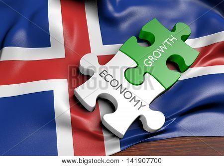 Iceland economy and financial market growth concept, 3D rendering