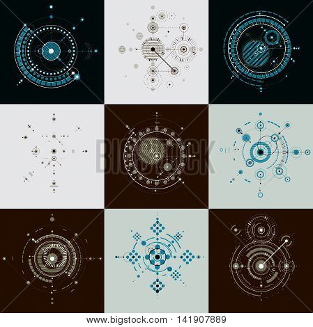 Collection of Bauhaus retro art vector backgrounds made using lines and circles.