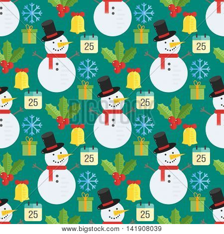 Christmas background vector seamless pattern with christmas elements- mistletoe snowman gift and bell