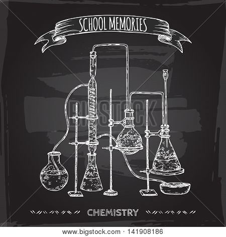 Vintage chemistry lab equipment hand drawn sketch placed on old blackboard background. School memories collection. Great for school, education, lab, retro design.