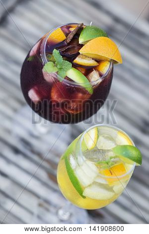 glass of white and red wine sangria cocktail drinks
