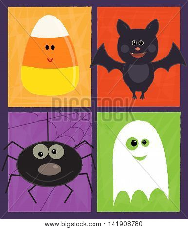 Cute Halloween design with ghost, spider, candy corn and a bat. Eps10