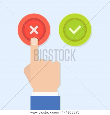 Yes or no vector illustration in flat style. Men's hand reaches for the right and wrong buttons. Colored buttons with a cross and tick.