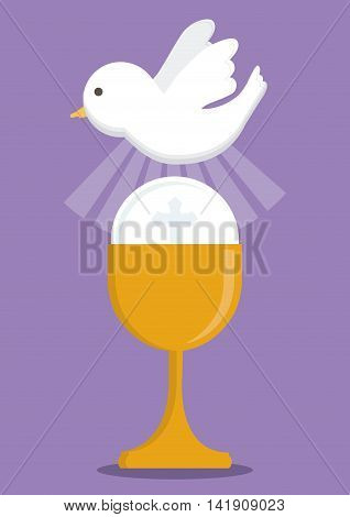 dove cup gold religion icon. First communion concept. Flat and Colorfull illustration. Vector graphic