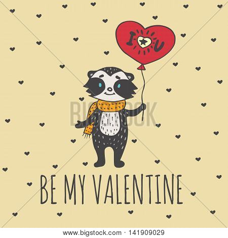 Valentines Day card with illustrated raccoon with balloon-heart. Vector illustrated colorful raccoon with balloon on beige background.