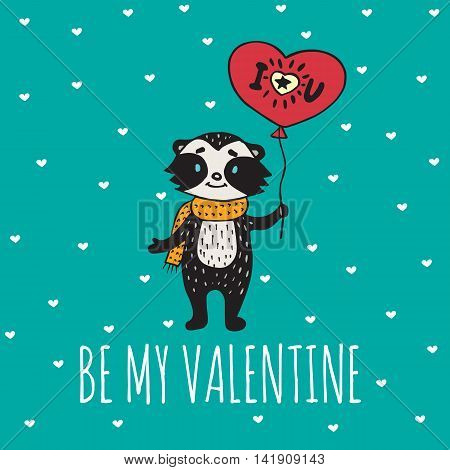 Valentines Day card with illustrated raccoon with balloon-heart. Vector illustrated colorful raccoon with balloon on blue background.