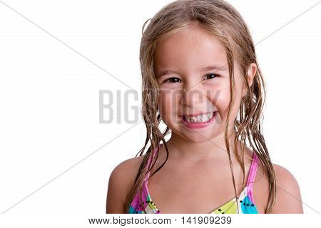 Cheerful Little Girl With Long Wet Hair