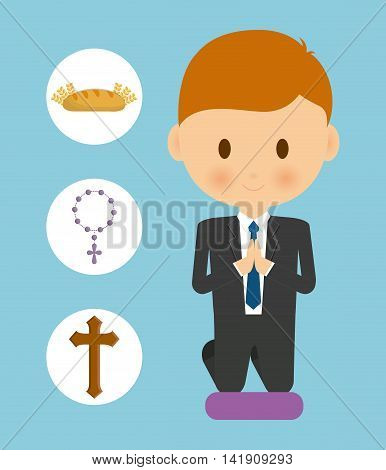 bread cross rosary boy kid cartoon icon. First communion concept. Flat and Colorfull illustration. Vector graphic