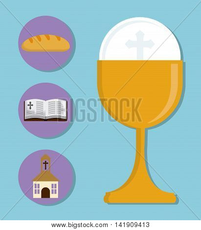 cup church bibble bread gold religion icon. First communion concept. Flat and Colorfull illustration. Vector graphic