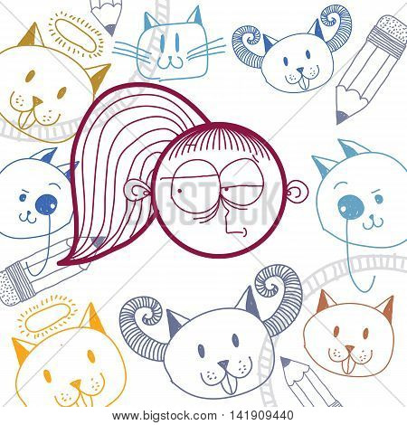 Vector art hand drawn illustration of personality emotions on woman face. Social interaction allegory drawing.