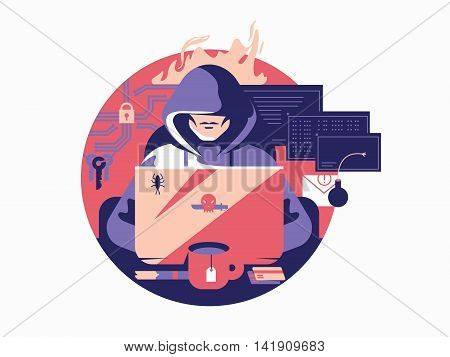 Hacker in shadowing. Criminal internet anonymous, security data, vector illustration