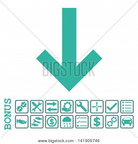 Arrow Down icon with bonus pictograms. Vector style is flat iconic symbol, cobalt and cyan colors, white background. Bonus style is bicolor square rounded frames with symbols inside.