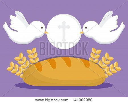 dove bread wheat ear icon. First communion concept. Flat and Colorfull illustration. Vector graphic
