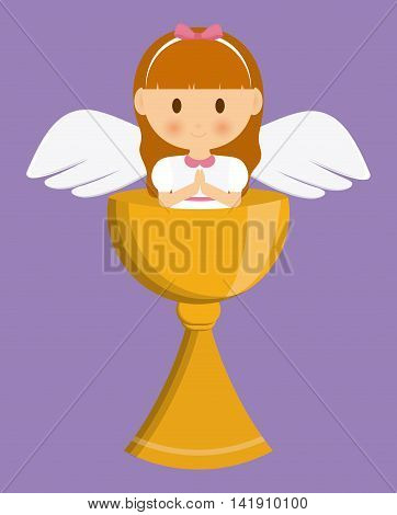 girl angel cartoon cup icon. First communion concept. Flat and Colorfull illustration. Vector graphic