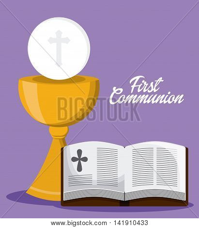 bible book cross cup  icon. First communion concept. Flat and Colorfull illustration. Vector graphic