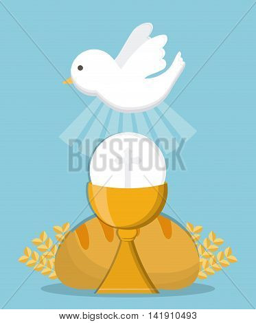 dove cup bread gold religion icon. First communion concept. Flat and Colorfull illustration. Vector graphic