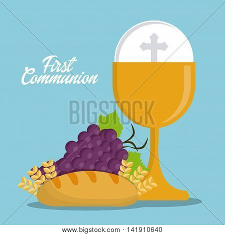 cup bread grapes gold religion icon. First communion concept. Flat and Colorfull illustration. Vector graphic