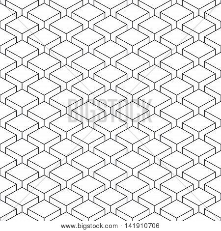 Seamless pattern with 3-D effect cubes in perspective. Linear swatch template surface with repetition geometric shape. Old retro styl background. Vector illustration clip-art web design elements 8 eps