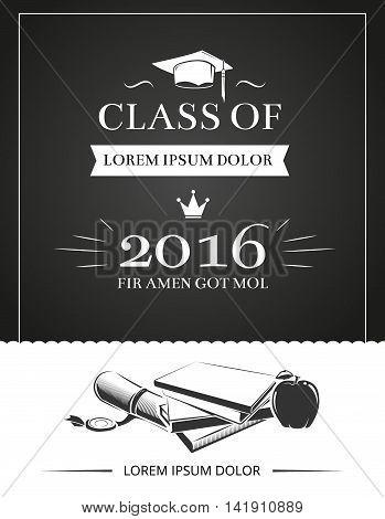 Graduation party invitation vector card, education university success school poster template