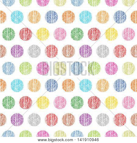 Seamless pattern polka dots on a white background. Color circle shape with old painted texture. Retro vintage wallpaper. Template swatch vector illustration graphic design element in 8 eps