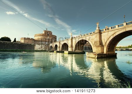 Sant Angelo Castle and Bridge in sunset time, Rome, Italia