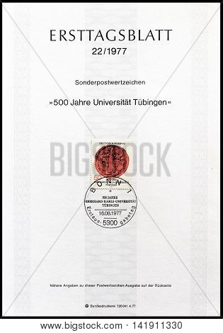 GERMANY - CIRCA 1977 : Cancelled First Day Sheet printed by Germany, that shows University Tubingen stamp.