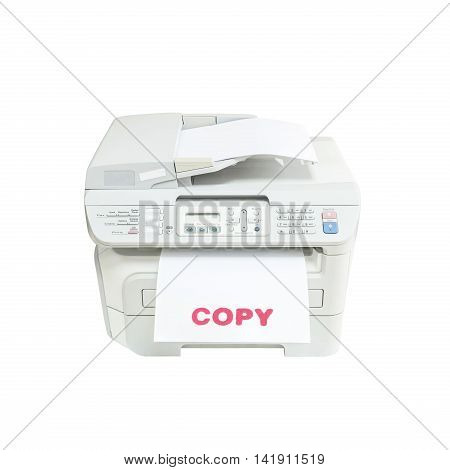 Closeup old white photocopier in the office with red ink copy word at the white paper office supplies concept isolated on white background
