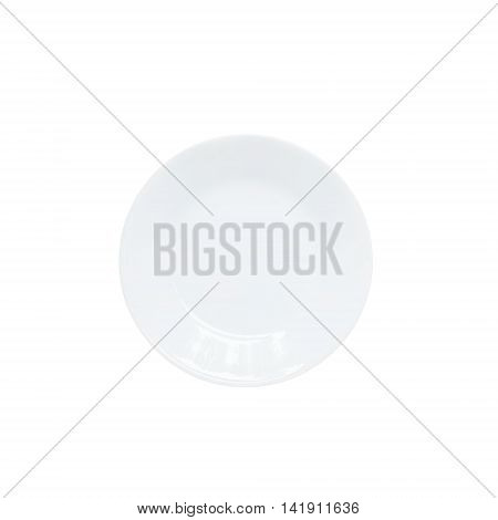 Closeup white ceramic dish in top view isolated on white background with clipping path