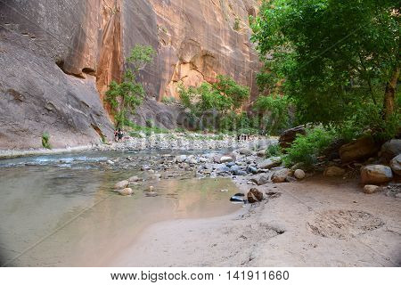 Mid-morning view of a clear river, multi-colored rocks, and cliffs and a sandy beach,along The Narrows hiking trail, Zion National Park