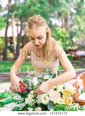 Flowers Bouquet Arrange For Decoration In Restaurant.