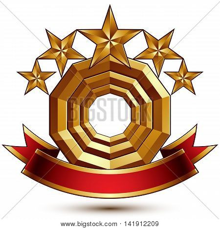 3d vector classic royal symbol with sophisticated five golden stars and red decorative wavy ribbon