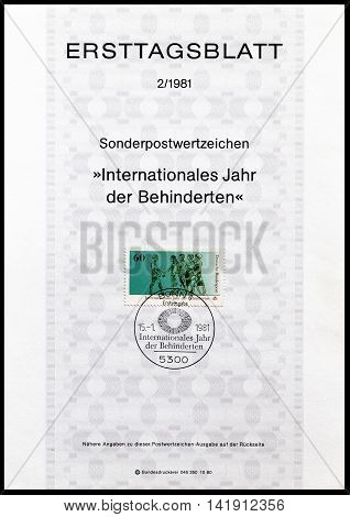 GERMANY - CIRCA 1981 : Cancelled First Day Sheet printed by Germany, that shows Disabled and healthy people walking together.