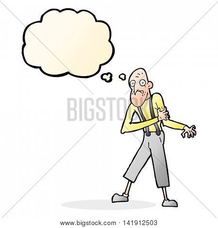 cartoon old man having heart attack with thought bubble
