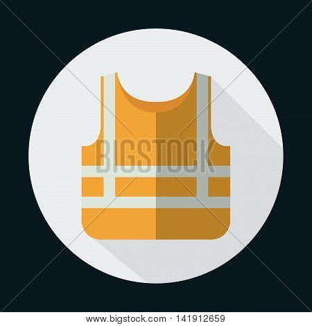 orange jacket industrial security safety icon. Circle design. Colorfull and flat illustration. Vector graphic