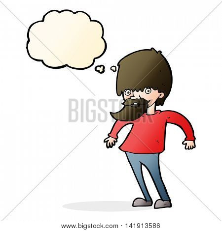 cartoon bearded man shrugging shoulders with thought bubble